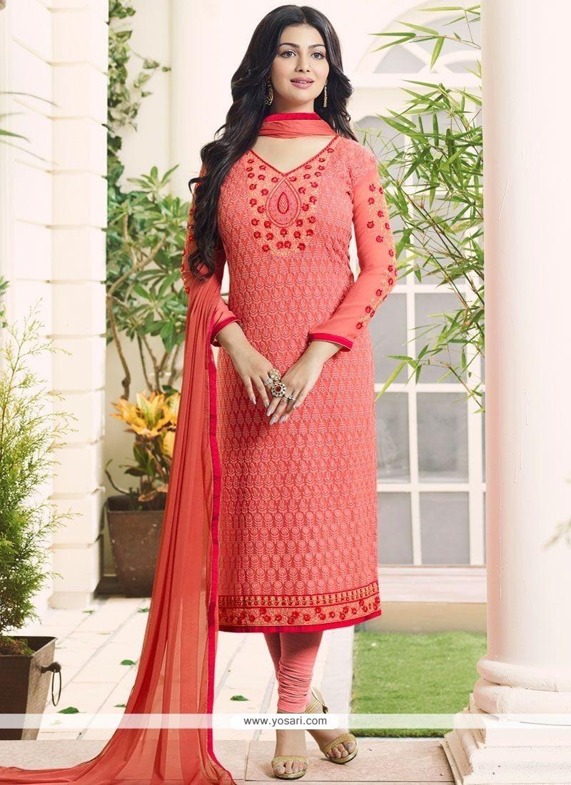 Ayesha Takia Embroidered Work Orange Churidar Designer Suit