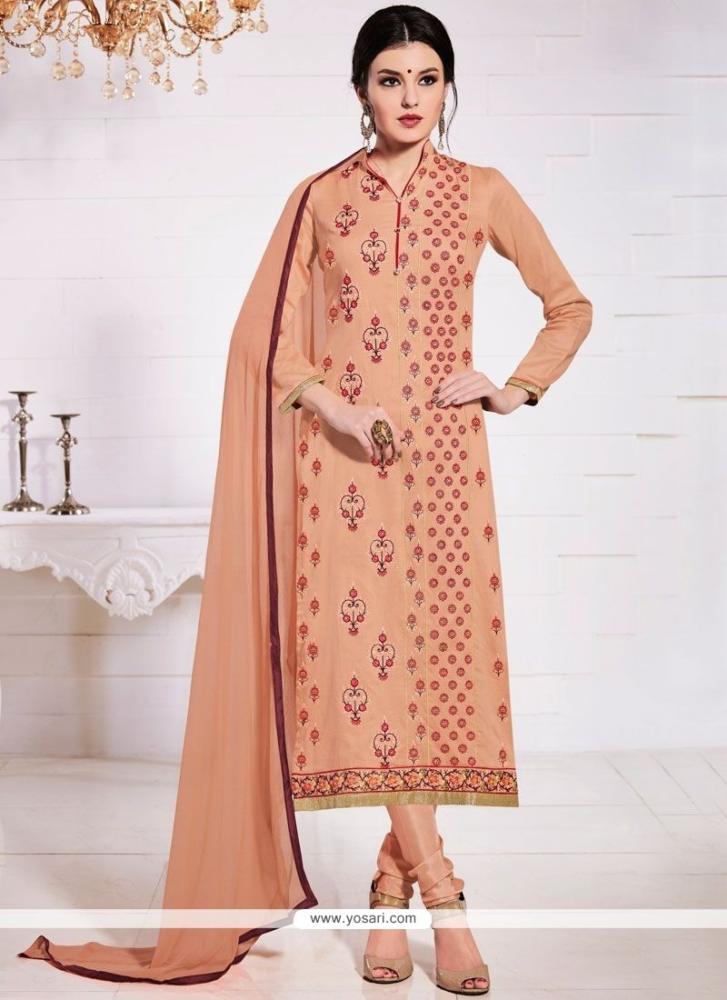 Sophisticated Cotton Resham Work Churidar Suit