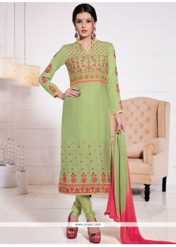 Phenomenal Resham Work Cotton Green Churidar Suit