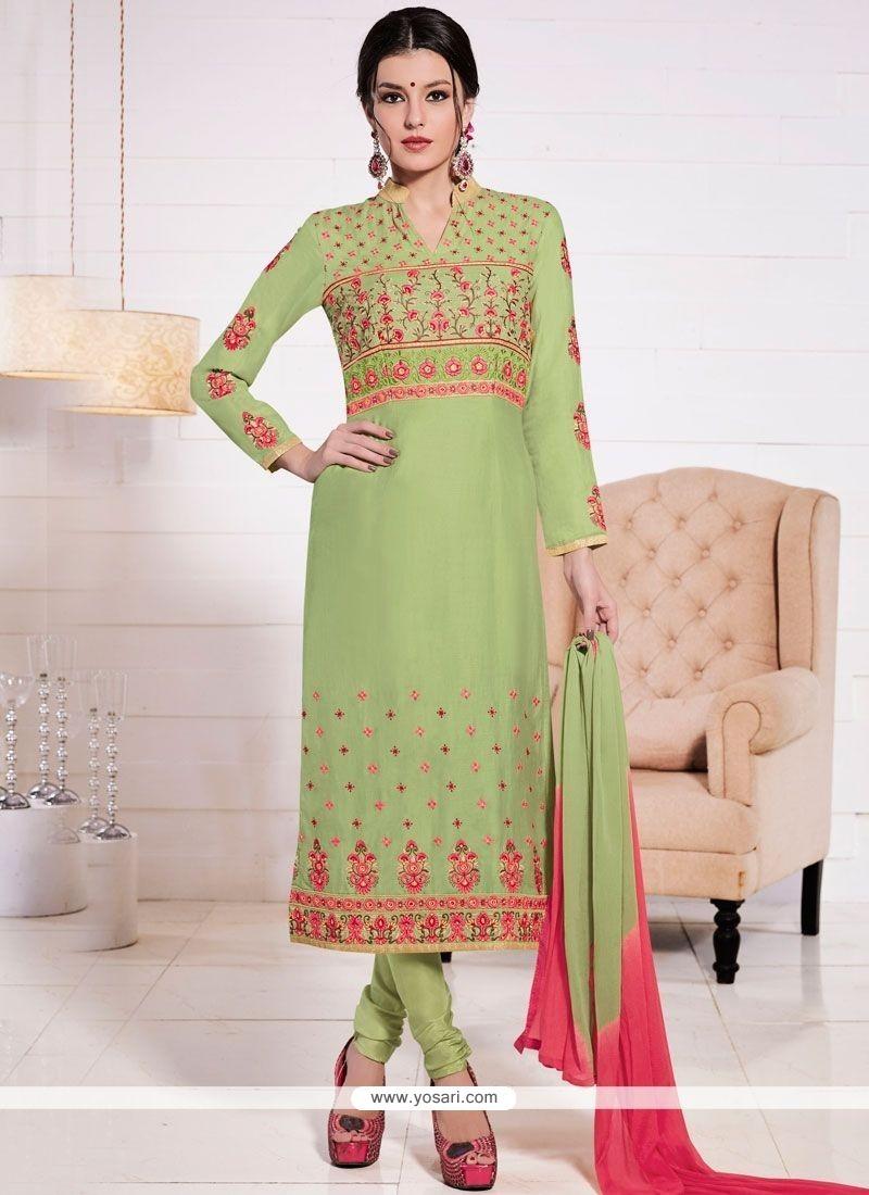 Phenomenal Resham Work Cotton Green Churidar Suit