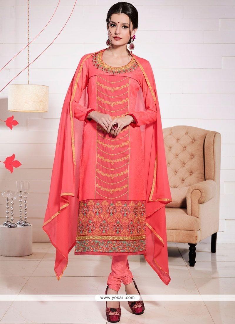 Marvelous Peach Churidar Suit