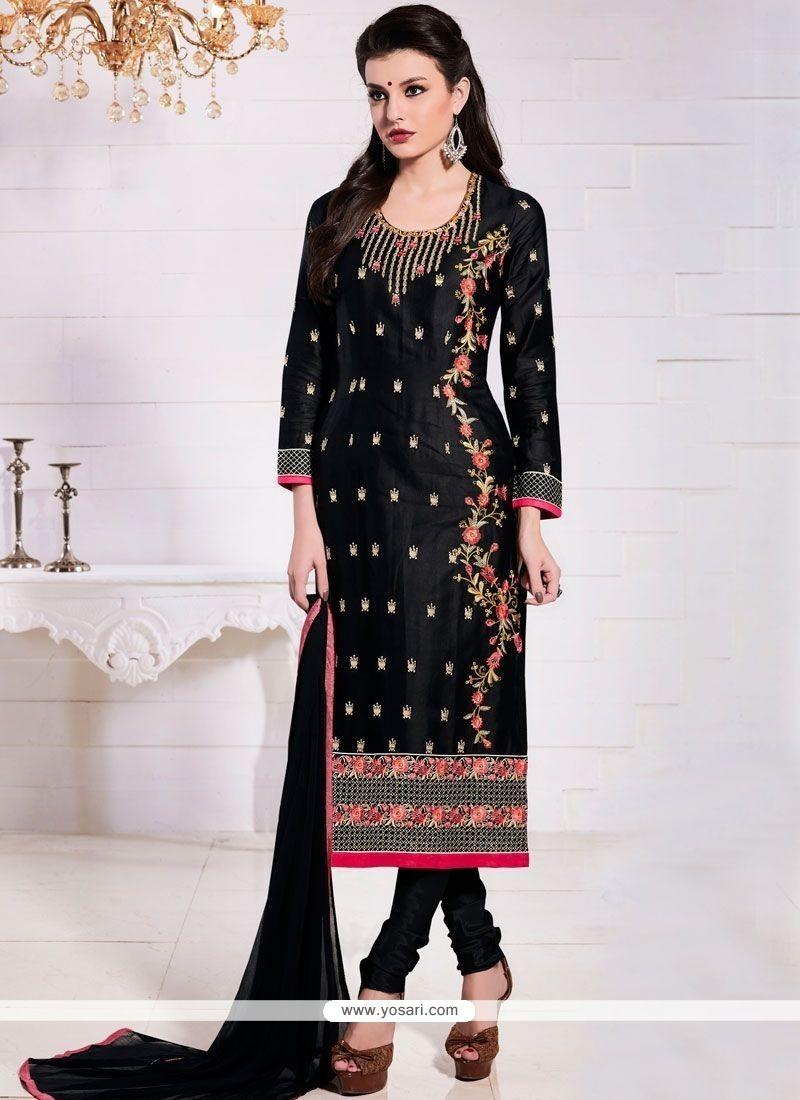 Gleaming Cotton Resham Work Churidar Suit