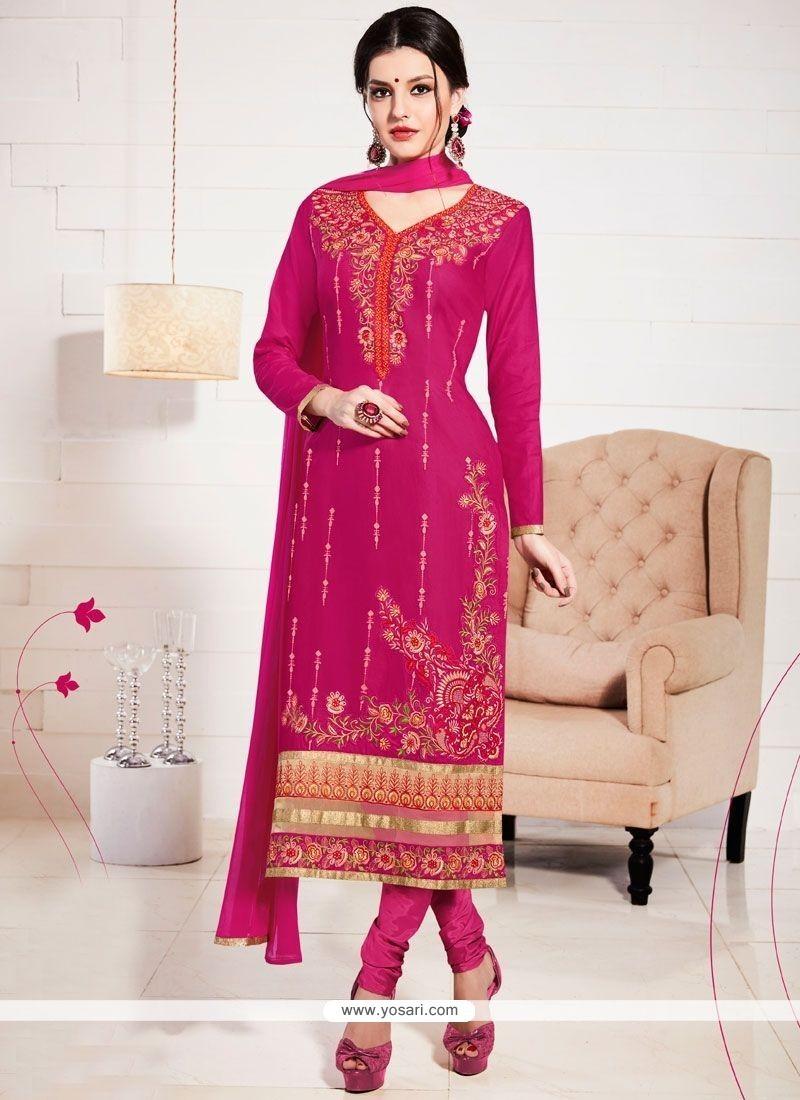 Exceptional Cotton Resham Work Churidar Suit