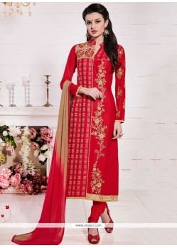 Superlative Resham Work Cotton Red Churidar Suit
