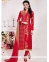 Superlative Resham Work Cotton Red Churidar Suit