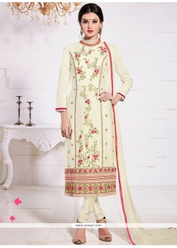 Dazzling Cotton Embroidered Work Churidar Suit