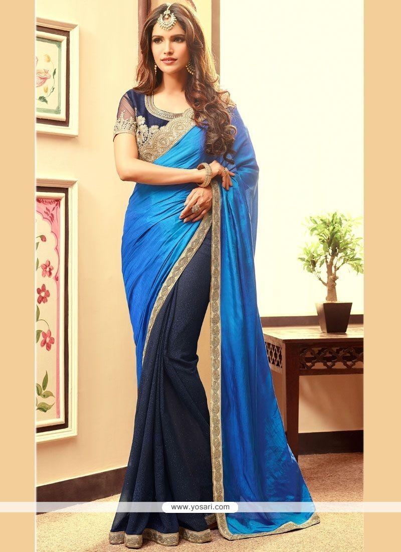 Innovative Blue And Navy Blue Embroidered Work Half N Half Designer Saree