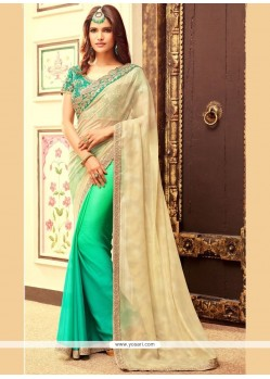 Prime Beige And Sea Green Faux Chiffon Half N Half Designer Saree