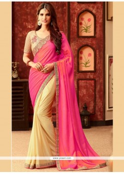 Honourable Art Silk Embroidered Work Half N Half Designer Saree