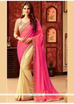 Honourable Art Silk Embroidered Work Half N Half Designer Saree