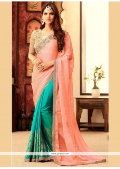 Alluring Peach And Sea Green Embroidered Work Faux Chiffon Half N Half Designer Saree