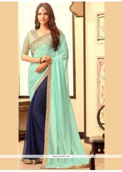 Genius Faux Georgette Patch Border Work Half N Half Designer Saree
