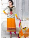White And Yellow Crepe Anarkali Suit