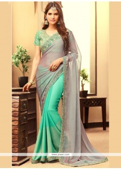 Pretty Grey And Sea Green Embroidered Work Faux Georgette Half N Half Trendy Saree