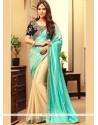 Dainty Fancy Fabric Embroidered Work Half N Half Saree
