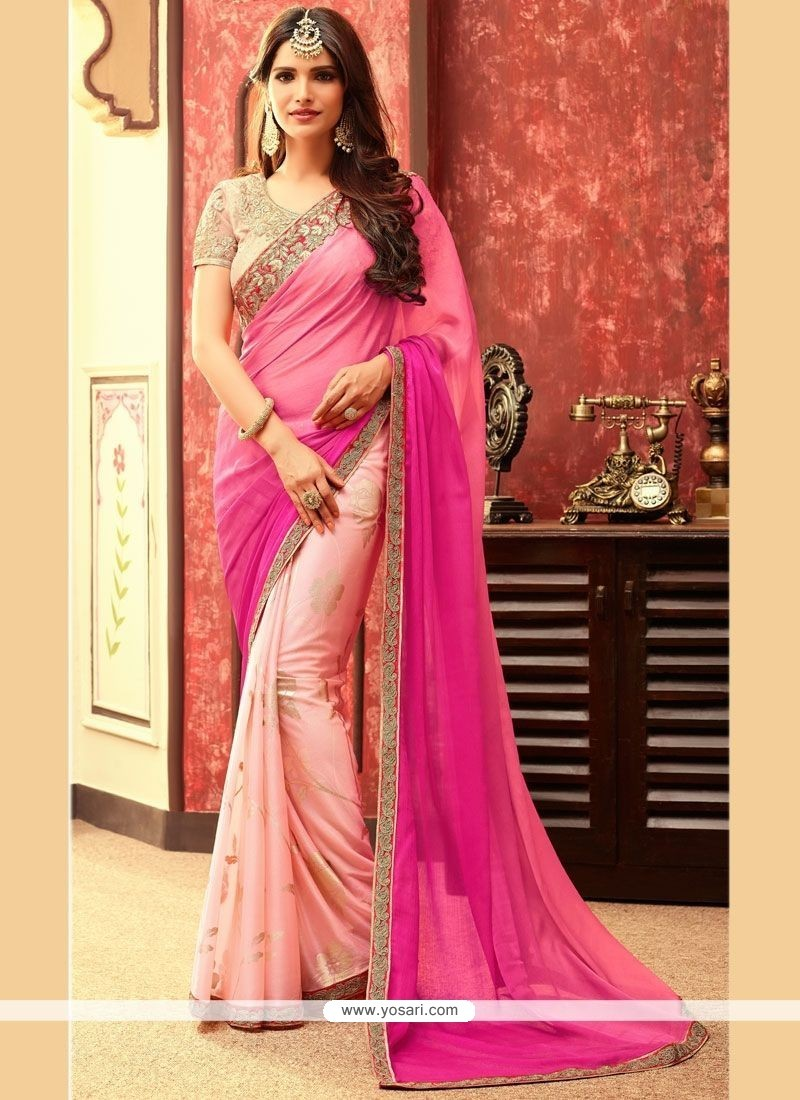 Ideal Embroidered Work Peach And Pink Designer Half N Half Saree