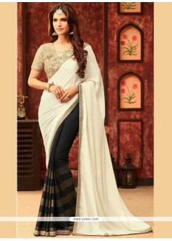 Astonishing Black And Cream Half N Half Saree