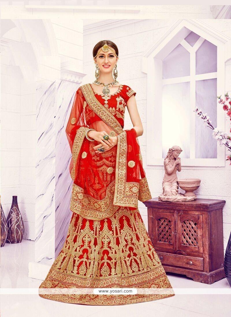 Spellbinding Red Resham Work Net Designer A Line Lehenga Choli