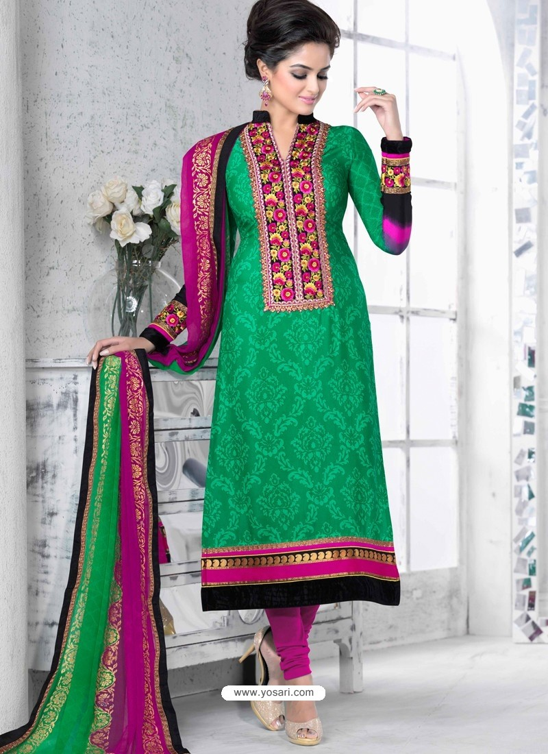 Green And Pink Crepe Anarkali Suit