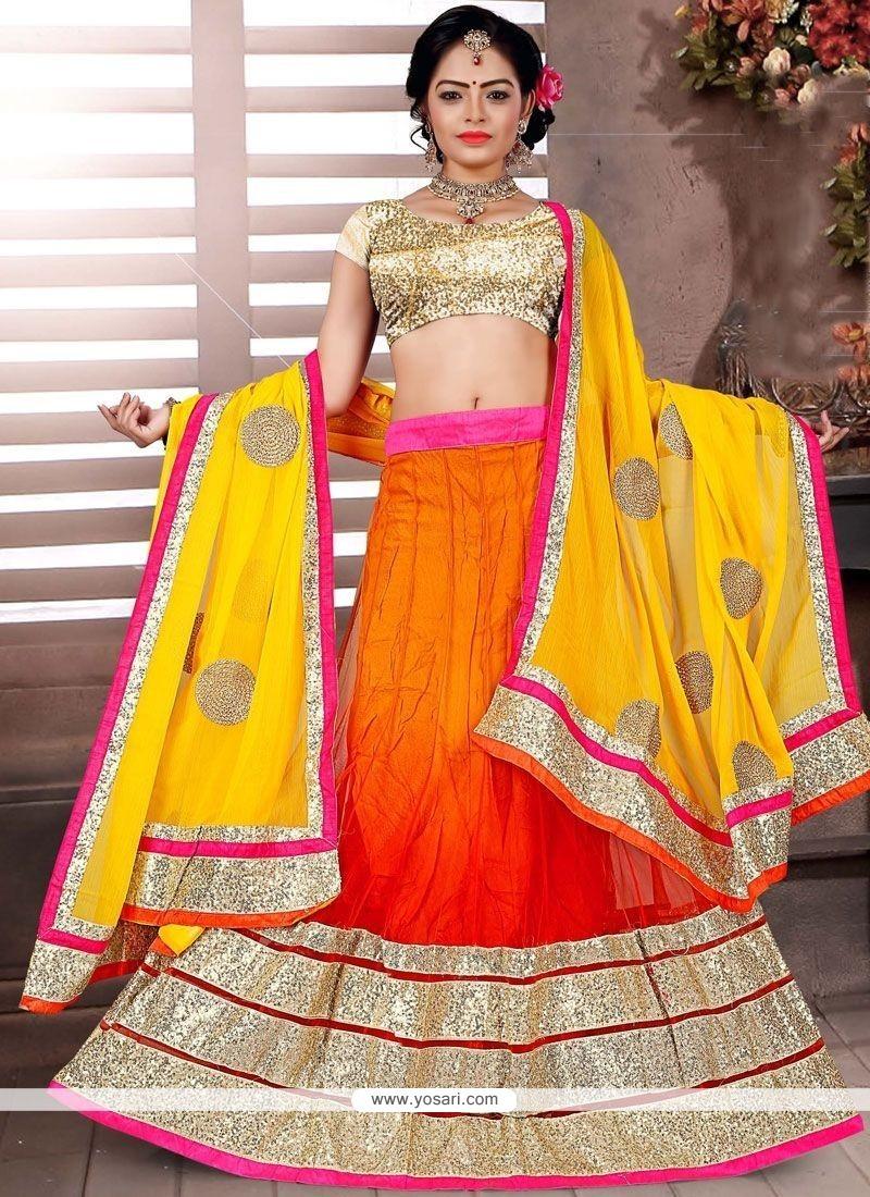 Intricate Net Lace Work Lehenga Choli