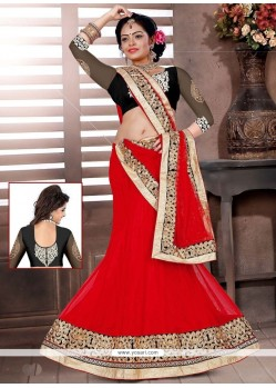Mystical Red Resham Work Lehenga Choli