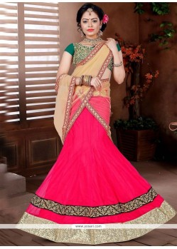 Arresting Embroidered Work Pink Lehenga Choli