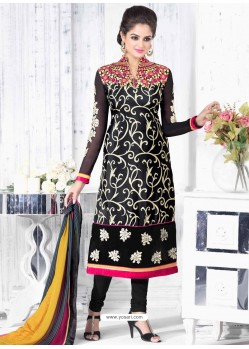 Black Crepe Anarkali Suit