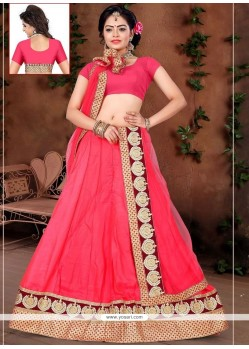 Best Art Silk Rose Pink Lehenga Choli