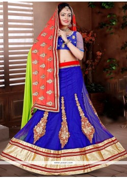 Picturesque Net Blue Lehenga Choli