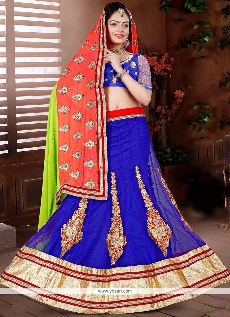 Picturesque Net Blue Lehenga Choli