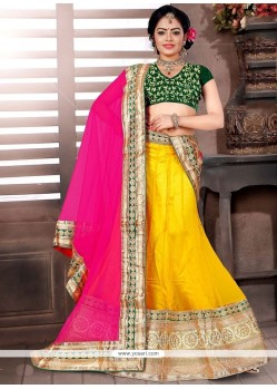 Stupendous Net Yellow Embroidered Work Lehenga Choli