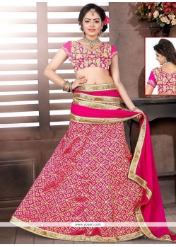 Eye-catchy Brocade Lace Work A Line Lehenga Choli
