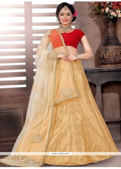 Intriguing Jacquard Beige And Red Lace Work Designer Lehenga Choli