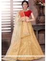 Intriguing Jacquard Beige And Red Lace Work Designer Lehenga Choli