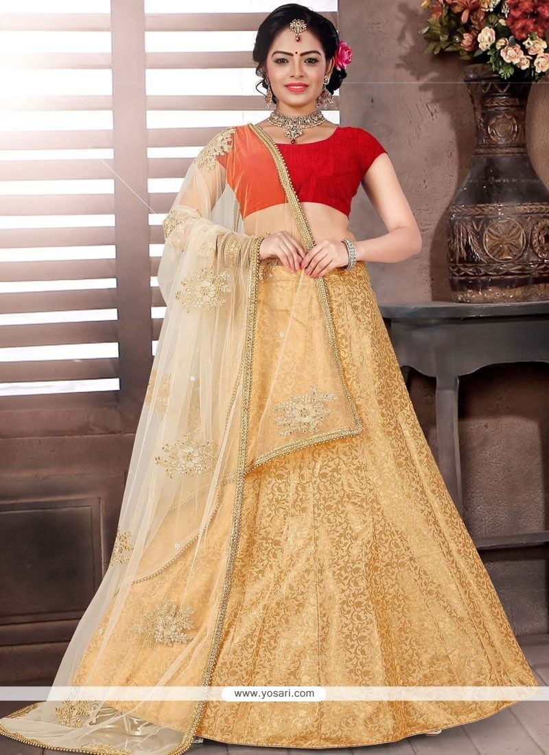 92d2aacd5 Buy Intriguing Jacquard Beige And Red Lace Work Designer Lehenga ...