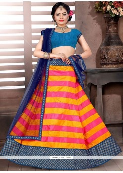 Beautiful Brocade Blue And Orange Designer Lehenga Choli
