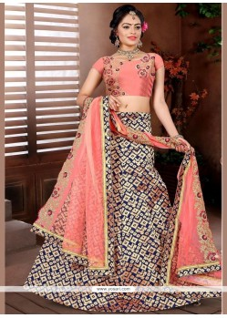 Pretty Peach Brocade Designer Lehenga Choli