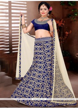 Lace Brocade Designer Lehenga Choli In Navy Blue