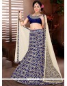Lace Brocade Designer Lehenga Choli In Navy Blue