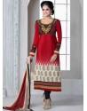 Red Crepe Anarkali Suit