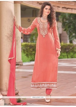 Renowned Lace Work Peach Brasso Churidar Designer Suit