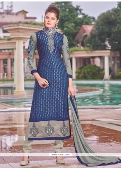 Monumental Brasso Blue Lace Work Churidar Designer Suit
