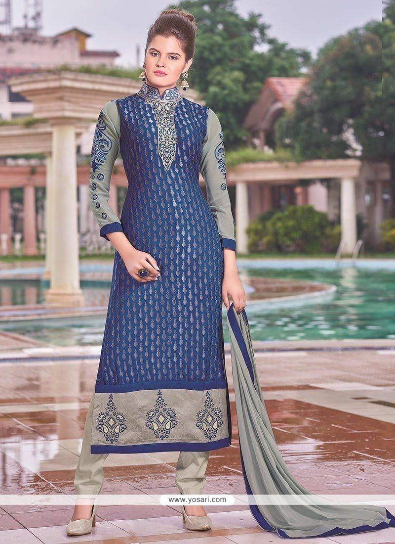 Monumental Brasso Blue Lace Work Churidar Designer Suit