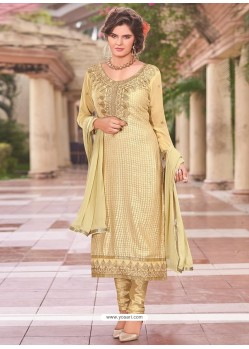 Nice Beige Lace Work Churidar Designer Suit