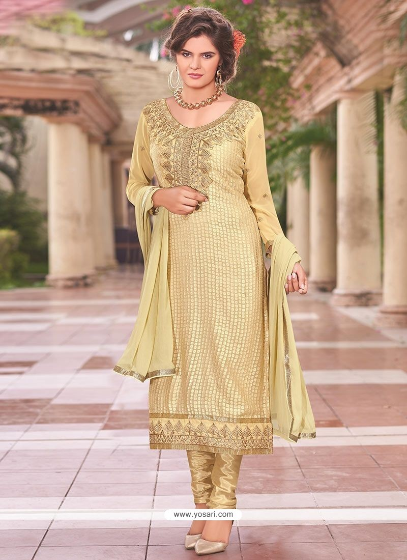 Nice Beige Lace Work Churidar Designer Suit