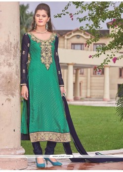 Staggering Brasso Embroidered Work Churidar Designer Suit