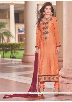 Opulent Orange Churidar Designer Suit