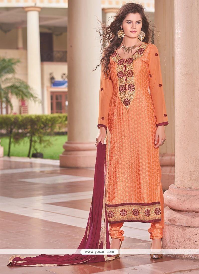 Opulent Orange Churidar Designer Suit
