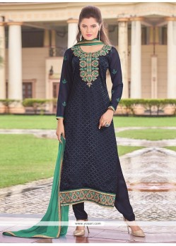 Intricate Navy Blue Churidar Designer Suit