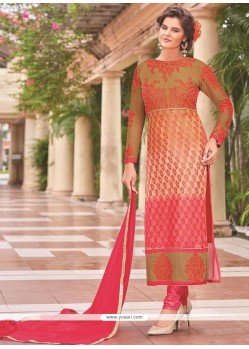 Divine Multi Colour Lace Work Churidar Designer Suit